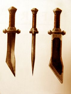 "Concept art of Kili's knife from ""The Hobbit: An Unexpected Journey"" (2013).  The scabbard was designed to sit over the width of the blade and allow for unimpeded withdrawal of the weapon."