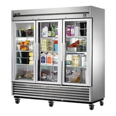 Refrigerator, Reach-in, three-section, (3) glass doors, stainless steel front/sides, stainless