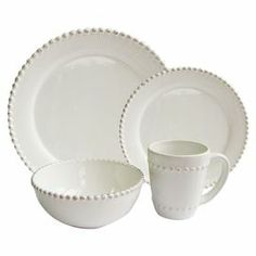 """A timeless addition to your dining room table, this crisp white dinnerware set with a beaded edge is elegant paired with vibrant linens and neutral tablescapes.    Product: 4 Dinner plates4 Salad plates4 Bowls4 MugsConstruction Material: CeramicColor: WhiteFeatures:  16 Ounce mug capacity  Dimensions: Dinner Plate: 11.5"""" Diameter Salad Plate: 8"""" DiameterBowl: 5"""" DiameterMug: 4"""" H Cleaning and Care: Microwave and dishwasher safe"""