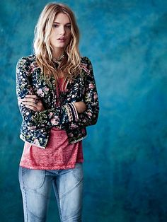 Free People Beads and Branches Jacket at Free People Clothing Boutique Beaded Jacket, Embroidered Jacket, Boho Fashion, Fashion Outfits, Casual Outfits, Lily Donaldson, Free People Clothing, Floral Jacket, Material Girls