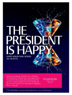 Step out of work & step into the Happy Hours at Vivanta by Taj - President.  Let leisure trump pressure! Know more: http://on.fb.me/1DStgZX #HappyHours #Party #Event #Fun #Work #AfterWork #StressBuster