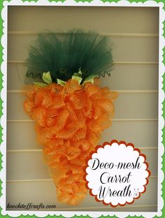 Deco Mesh Carrot Easter Wreath via Knock-It-Off Crafts
