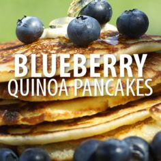 Quinoa Blueberry Pancakes: 2 1/2 cups cooked Quinoa 4 Eggs 2 tbsp Grapeseed Oil Cooking Spray 1 cup Milk 3 tsp Baking Powder 1 tbsp Honey 1 1/2 cups Blueberries 1/4 tsp Salt