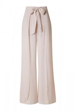 Layered Front High Waist with Tie Lightweight Palazzo Pants - Beige from Hello Caroline. Saved to Epic Wishlist.