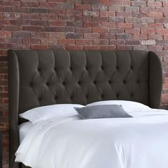 Beds/Headboards - Skyline Furniture Tufted Wingback Linen Headboard | Wayfair - dark brown linen tufted headboard, brown tufted wingback headboard, button tufted wingback headboard,