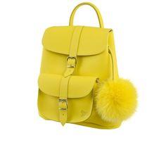 Grafea Women's Sunny Fur Pom Backpack - Yellow: Image 2