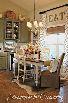 French Country Breakfast Area...I will replace my dining room curtains with a chevron print and I am sooooo going to ad the length by putting the rod up higher...love this soo much!