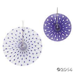 Purple Polka Dot Hanging Fans-Girls Camp