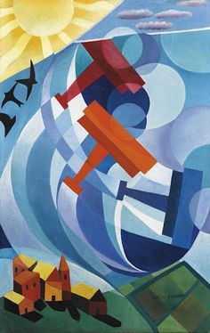Artwork by Giulio D'Anna, Volo sul paese, Made of tempera on canvas Art And Illustration, Futurist Painting, Giacomo Balla, Art Steampunk, Italian Futurism, Futurism Art, Modernisme, Diesel Punk, Ap Art