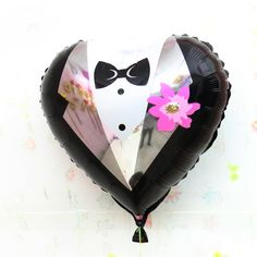 1Pcs|18 inches Heart Bride Groom Aluminium Foil Helium Balloons Wedding Party Decoration - Wedding Look