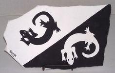 Mod Southwest Black & White Gecko/Lizard Painting On Flagstone By Elissa Shakal #Original