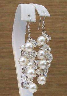 Cream Pearl & Clear Crystal Cluster Earrings
