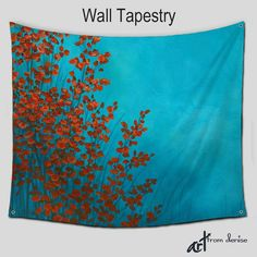Red And Turquoise Abstract Botanical Wall Tapestry Featuring Original ArtFromDenise Whether Its For Your Bedroom Living Room Dorm Man