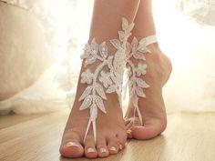 White Beach wedding barefoot sandals by ByVIVIENN on Etsy