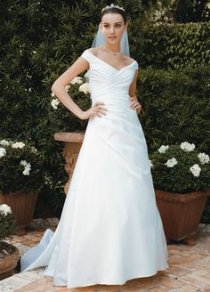 Tulle Sample: Wedding Dress Off-the-shoulder A-Line with Side-draped Bodice - White, 8