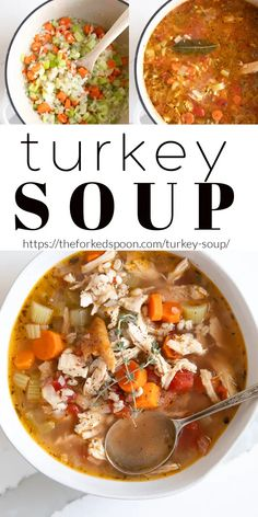 This Turkey Soup Recipe is an easy, comforting, go-to recipe after feasting for the holidays. Use what's left of the turkey carcass, add some vegetables and barley, and make a delicious leftover… More