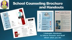 Promote your counseling program with these editable brochures and handouts.  Contains: ~ a counseling department brochure ~ ways to connect poster ~ and program goals (great to inform teachers of your yearly program goals)