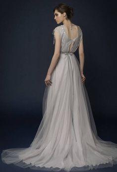 Siarma smoky light gray bridesmaid dress chiffon tulle and samuna smoky bohemian gray wedding dress with open back and hand embroidery vintage wedding junglespirit Gallery