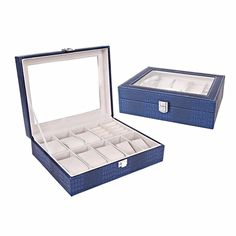 Leather Watches Display Jewelry Storage Box Case Glass Top Bracelet Holder Gift Six Colors