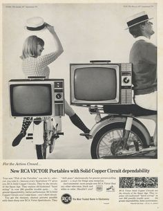 1965 RCA Victor Portable TVs Vintage Ad Couple by AdVintageCom