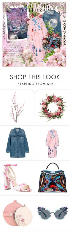 """Cherry blossom"" by purplecherryblossom ❤ liked on Polyvore featuring Pier 1 Imports, Yuliya Magdych, Monique Lhuillier, Fendi, Miu Miu, Kenneth Jay Lane, Pink, denim, dress and cherryblossom"
