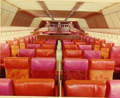 groovy orange & pink Pacific Southwest Airlines airplane interior