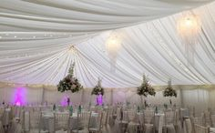Full draped with fairy lights marquee. provided by Elite Marquees