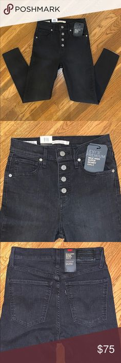 NWT Levi/'s Mile High Cropped Flare in Play Harder Black Stretch Jeans 28 6