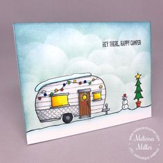 I'm back today with another Christmas card. I created this card for some dear friends of mine who purchased a motor home earlier this year and have embarked on their first winter as snowbirds…