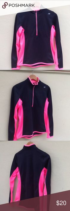 New Balance Half Zip New Balance half zip with thumb holes. Fleece inside. Hot pink and black. In excellent condition. New Balance Tops Sweatshirts & Hoodies