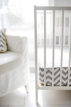 New Arrivals Crib Bedding Zig Zag Slate Gray Chevron Bumperless Crib Sheet, available at #polkadotpeacock. #peacocklove #newarrivalsinc