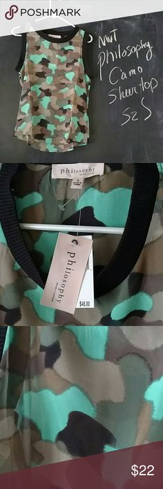 NWT Philosophy Camo Sheer Sleeveless Top Sz S NWT Philosophy Camo sheer top.  Sleeveless.  Sz S Army greens with bright mint green.  Black ribbed outline on neck and sleeves.  Lightweight Polyester material.   Bust 34 in. Length 24.5  Excellent condition.  New. Smoke and Pet free environment. No trades. Philosophy Tops