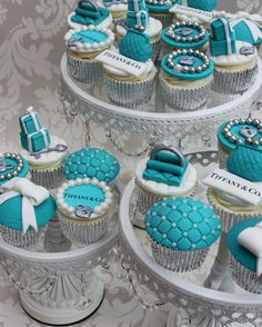 tiffany and co cupcakes. How do I go about talking to someone at this Company? Tiffany Co Party Ideas, Tiffany E Co, Tiffany Blue Party, Tiffany Birthday Party, Tiffany Theme, 40th Birthday Cakes, Cute Cupcakes, Cupcake Cookies, Teal Cupcakes