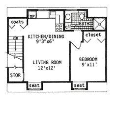 Second Floor Plan of Garage Plan 94343 Garage Plan 94343 - 2 Car Garage Apartment Plan with 422 Sq Ft, 1 Bed, 1 Bath 2 Car Garage Plans, Carport Plans, Garage Apartment Plans, Garage Apartments, Shed Plans, Garage Ideas, Small Cabin Plans, Tiny House Plans, Garage Loft