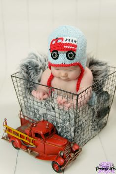 Cover your baby's head with a Firetruck Beanie Hat. The knitted earflap hat is the perfect accessory for little ones. Vintage Baby Boys, Baby Head, Fire Trucks, Beanie Hats, Firefighter, Little Ones, Crochet Baby, Hand Knitting, Gowns