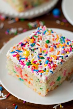 It't time to celebrate with this ultra fluffy homemade funfetti cake! It's bursting with sprinkles and topped with a fluffy vanilla buttercream. Bring on the birthdays!!