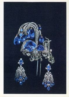 """""""Fountain"""" aigrette and earrings demi-parure of sapphires and diamonds 