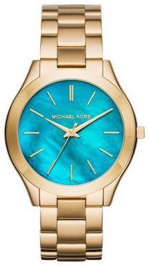 Michael Kors Slim Runway Turquoise Mother-Of-Pearl & Goldtone Stainless Steel Bracelet Watch