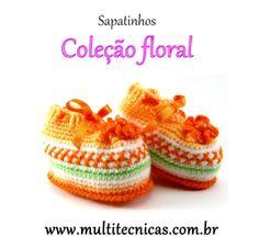 Sapatinho - Coleção Floral  Laranja  Feito em crochê, com lã para bebê.  Cor: laranja/branco     Tamanho: 2 a 6 meses R$ 25,00