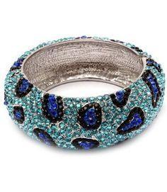 $59.99  Amazon.com: HOT HOT HOT BLUE/CLEAR/BLACK HUGE Leopard Pave Swarovski Crystal & Rhinestone BLING Hinged Metal Bangle Bracelet by Jersey Bling handmade: Jewelry