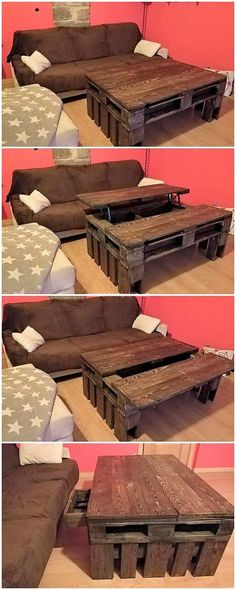 Wood pallet has always come across to be one of the favorite choice of the houses in favor of settling the room with the interesting table designs. In this design too, you will catch the table form of work where the top design work over the table makes it end to be so amazing with the lift up top effect.