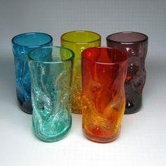 Pinch - Crackle Glass Tumblers. Blenko Glass - Milton, WV