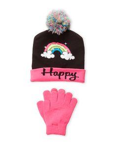 Berkshire Girls Pink /& White Striped Beanie Pom Pom Hat /& Gloves Set