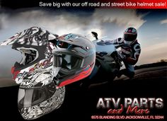Don't forget that ATV Parts and More is having a helmet sale going on this week!!!!  ATV Parts and More 6575 Blanding Blvd. Jacksonville, FL 32244 904-777-6277 #atv #utv #motocross #motorcycle #dirtbike #cruiser #helmet