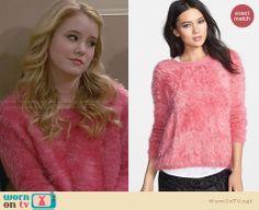 Lennox's pink fluffy sweater on Melissa and Joey.  Outfit Details: http://wornontv.net/29033/ #MelissaandJoey