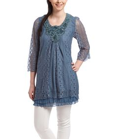 Look what I found on #zulily! Blue Embellished Lace Silk-Blend Tunic - Women #zulilyfinds