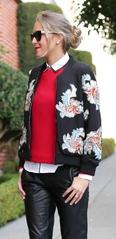 black leather trousers, beaded emboidered silk felisa bomber jacket, black and white oxford shoes, white button down shirt, red crewneck sweater + messy bun