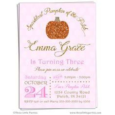 Sparkliest Pumpkin Invitation  Sparkle by ThreeLittleParties