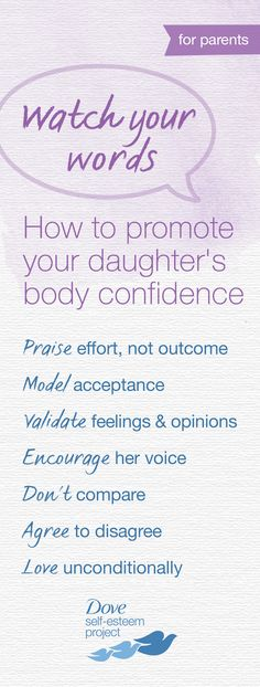 You probably don't always agree with your daughter's choices—that's completely normal. If you do voice your opinion, use these guidelines to ensure you don't damage her body confidence. You may be surprised how a different approach can have a positive impact. For more self-esteem articles, activities, and advice—head to www.pinterest.com/selfesteem. #SelfEsteemProject