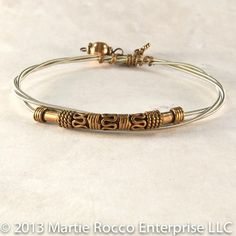 Guitar String Bangle bracelet with antiqued copper beads GSB101